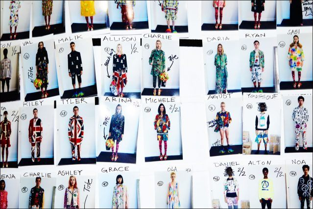 """Model's """"look"""" board, backstage at the Libertine Spring/Summer 2017 show during New York Fashion Week. Photograph by Alexander Thompson for Ponyboy magazine NY."""