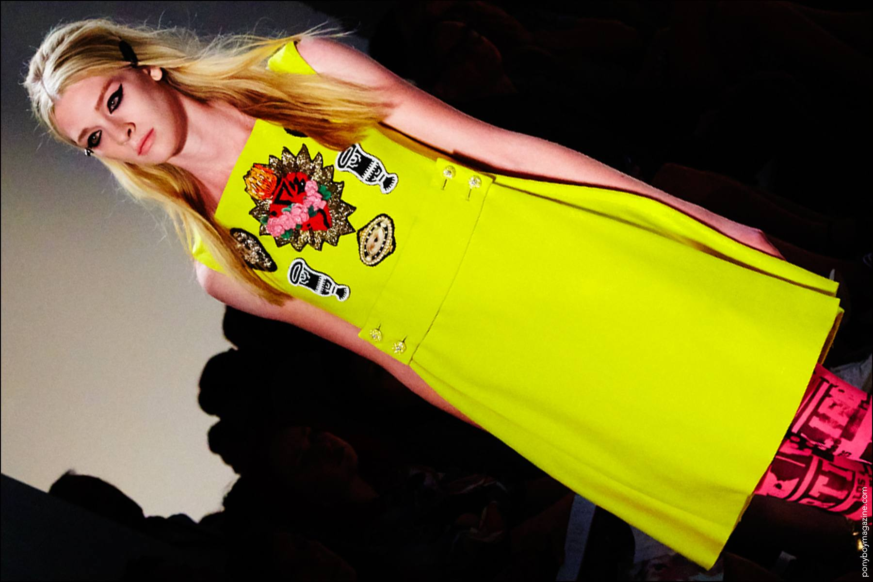 A day-glo shift on the runway at Libertine S/S17 show, on model Allison Millar. Photography by Alexander Thompson for Ponyboy magazine NY.