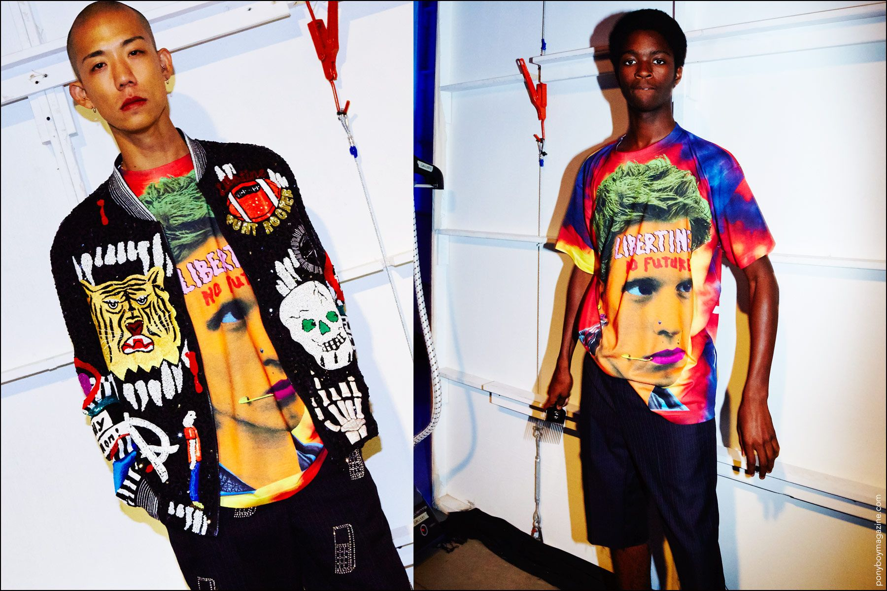 Male models snapped backstage in colorful, graphic clothing at the Libertine S/S17. Photography by Alexander Thompson for Ponyboy magazine in New York City.