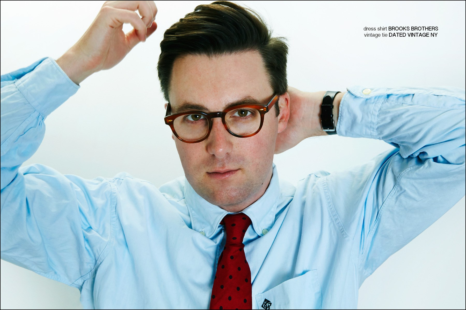 Musician Nick Waterhouse photographed in a Brooks Brothers dress shirt for Ponyboy magazine in New York City. Photography by Alexander Thompson.