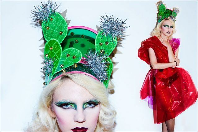 A cactus visor from the Stella line by Stella Rose Saint Clair. Photograph by Alexander Thompson for Ponyboy magazine.
