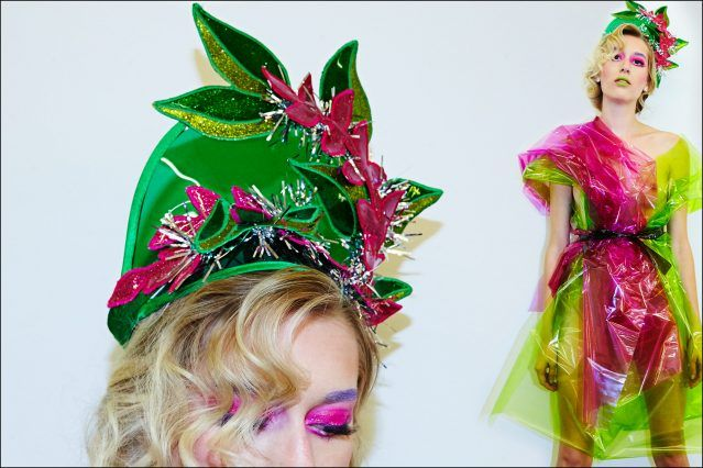 A festive visor designed by Stella Rose Saint Clair, for her hat line Stella. Photographed by Alexander Thompson for Ponyboy magazine in New York City.