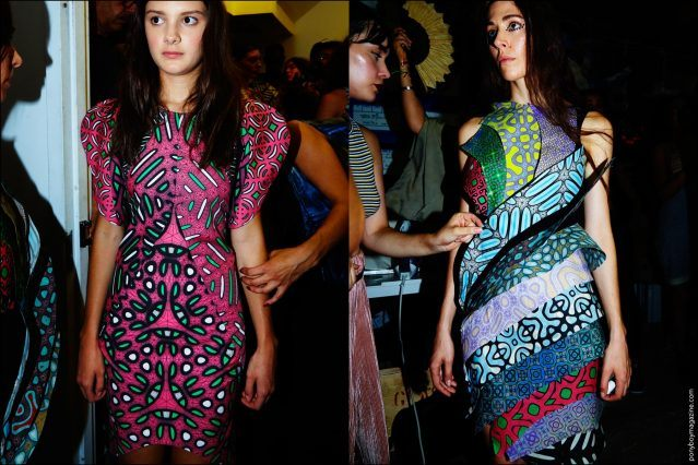 Bold patterned dresses photographed on models backstage at threeASFOUR Spring 2017 collection. Photography by Alexander Thompson for Ponyboy magazine New York.