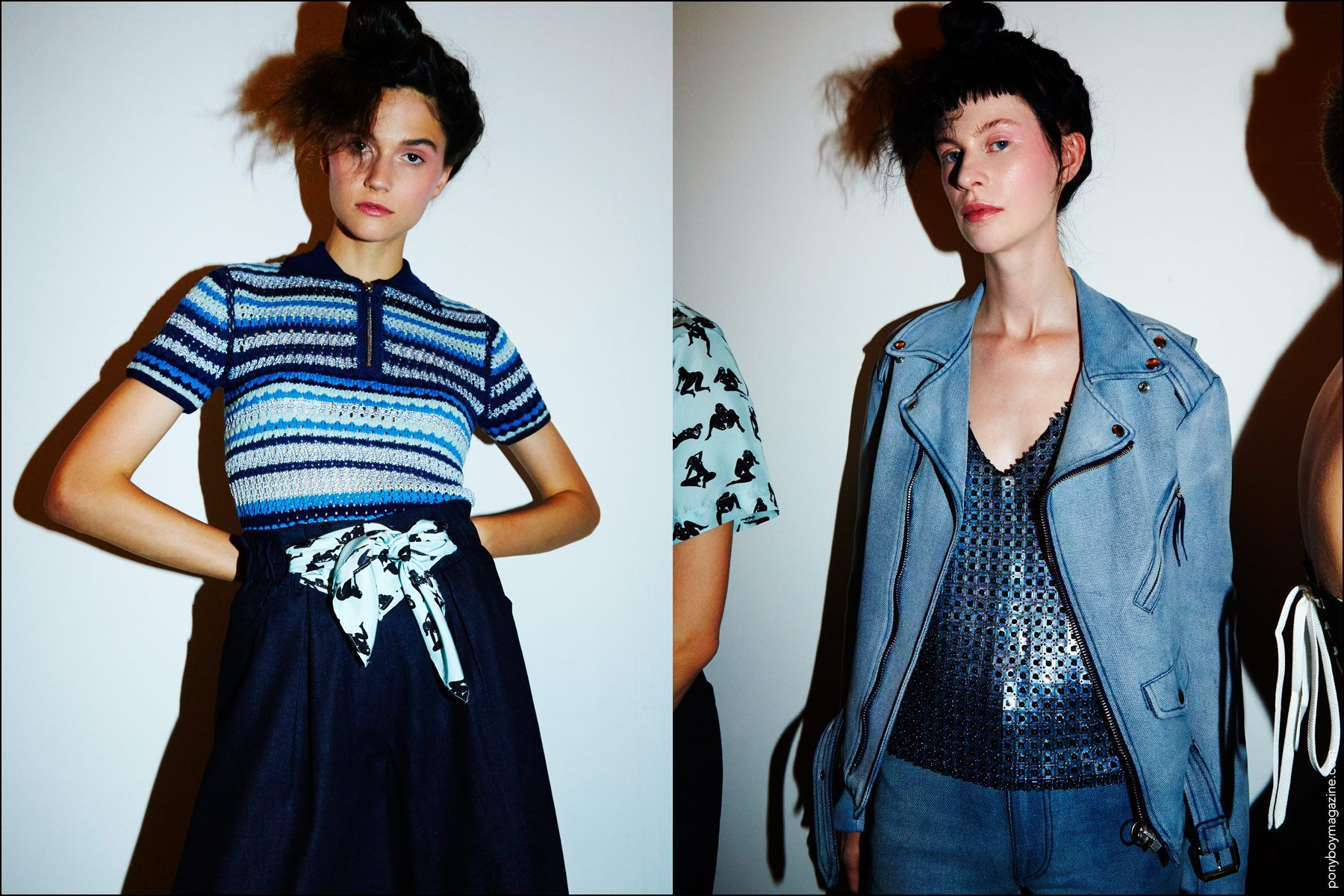 Models in blue designs, backstage at the Adam Selman Spring/Summer 2017 show. Photography by Alexander Thompson for Ponyboy magazine.