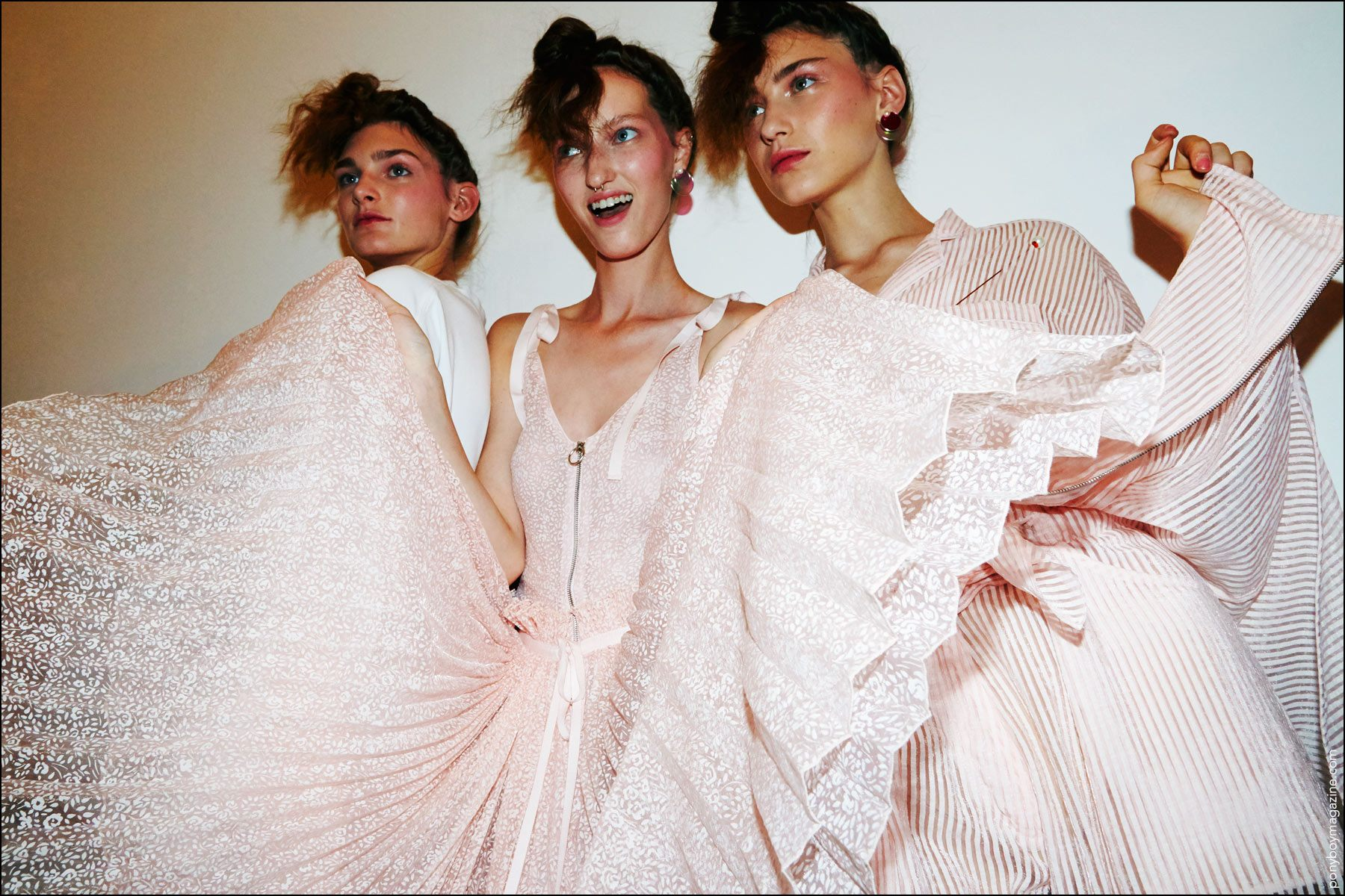 Models in pink designs by New York City downtown designer Adam Selman, for S/S17. Photography by Alexander Thompson for Ponyboy magazine