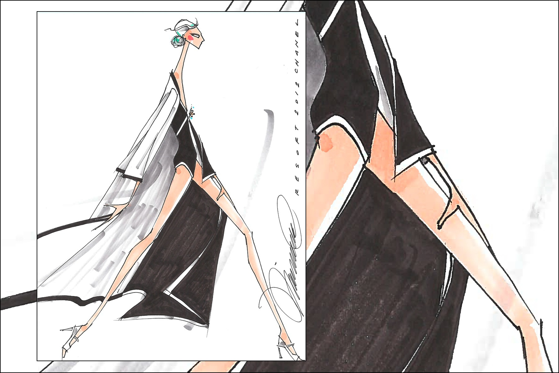 Chanel Resort 2012 fashion illustration by Michael Ward. Ponyboy magazine New York.