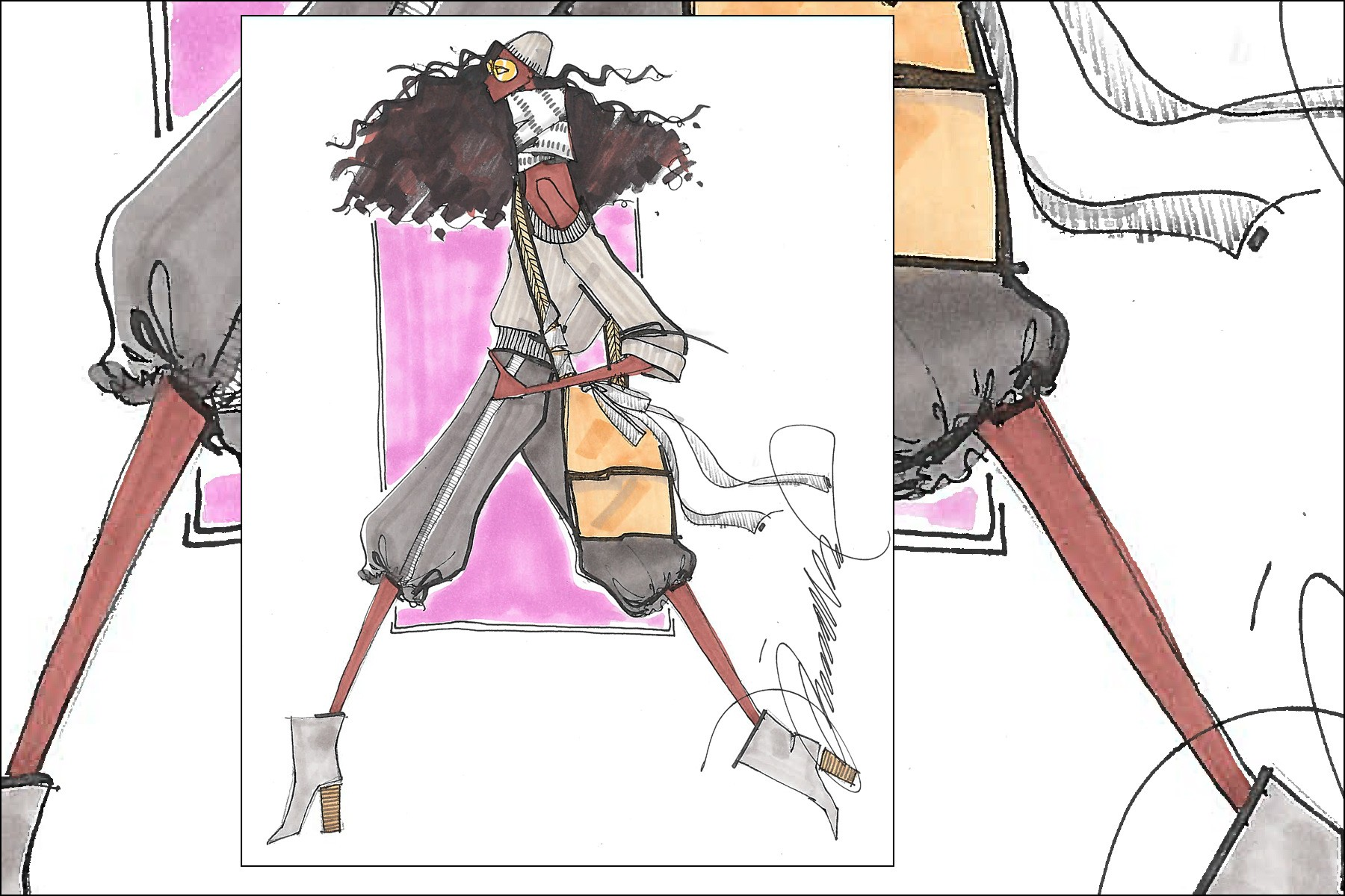 An 80s inspired fashion illustration by Michael Ward. Ponyboy magazine New York.