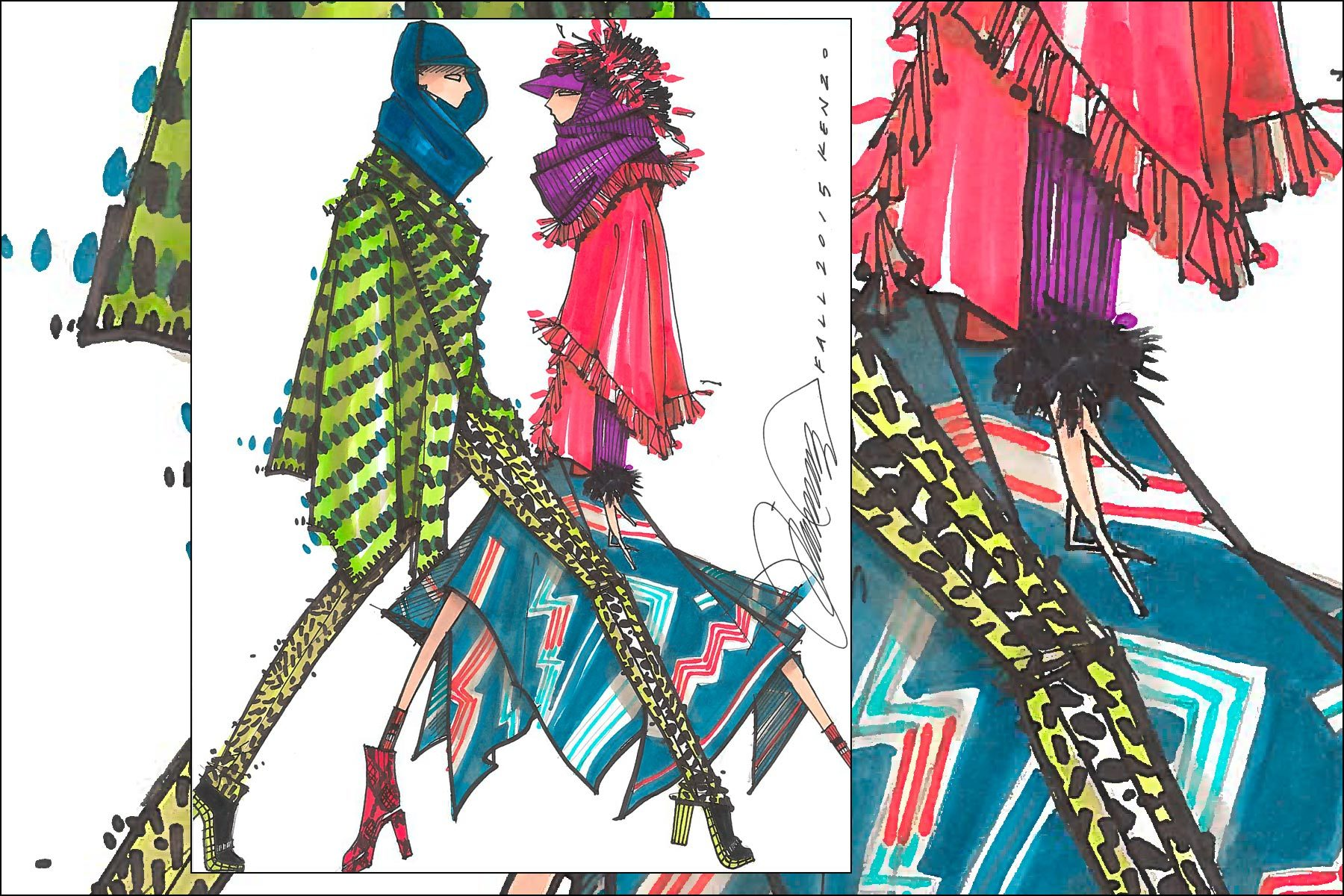 Kenzo Fall 2015 fashion illustration by Michael Ward. Ponyboy magazine New York.