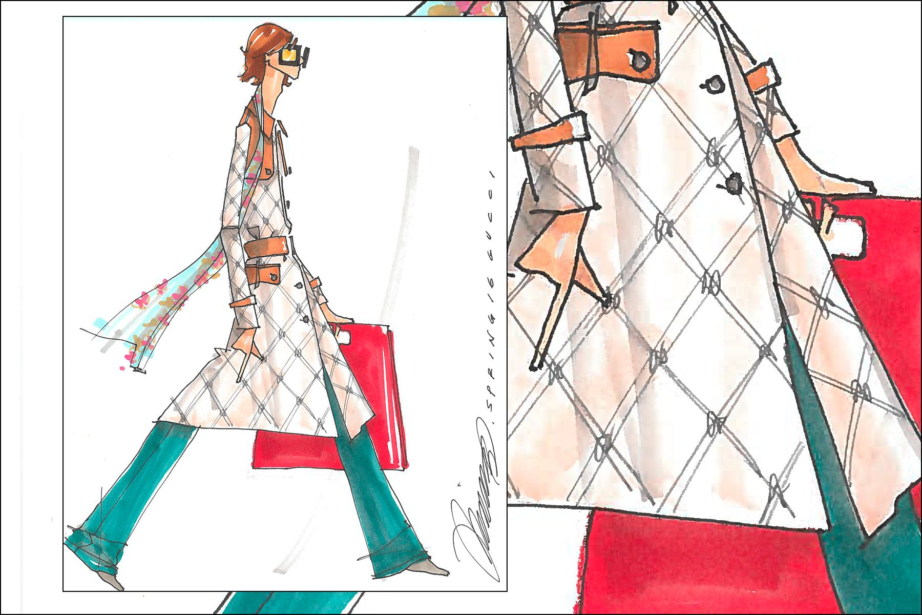 Gucci Spring 2016 men's fashion illustration by Michael Ward. Ponyboy magazine New York.
