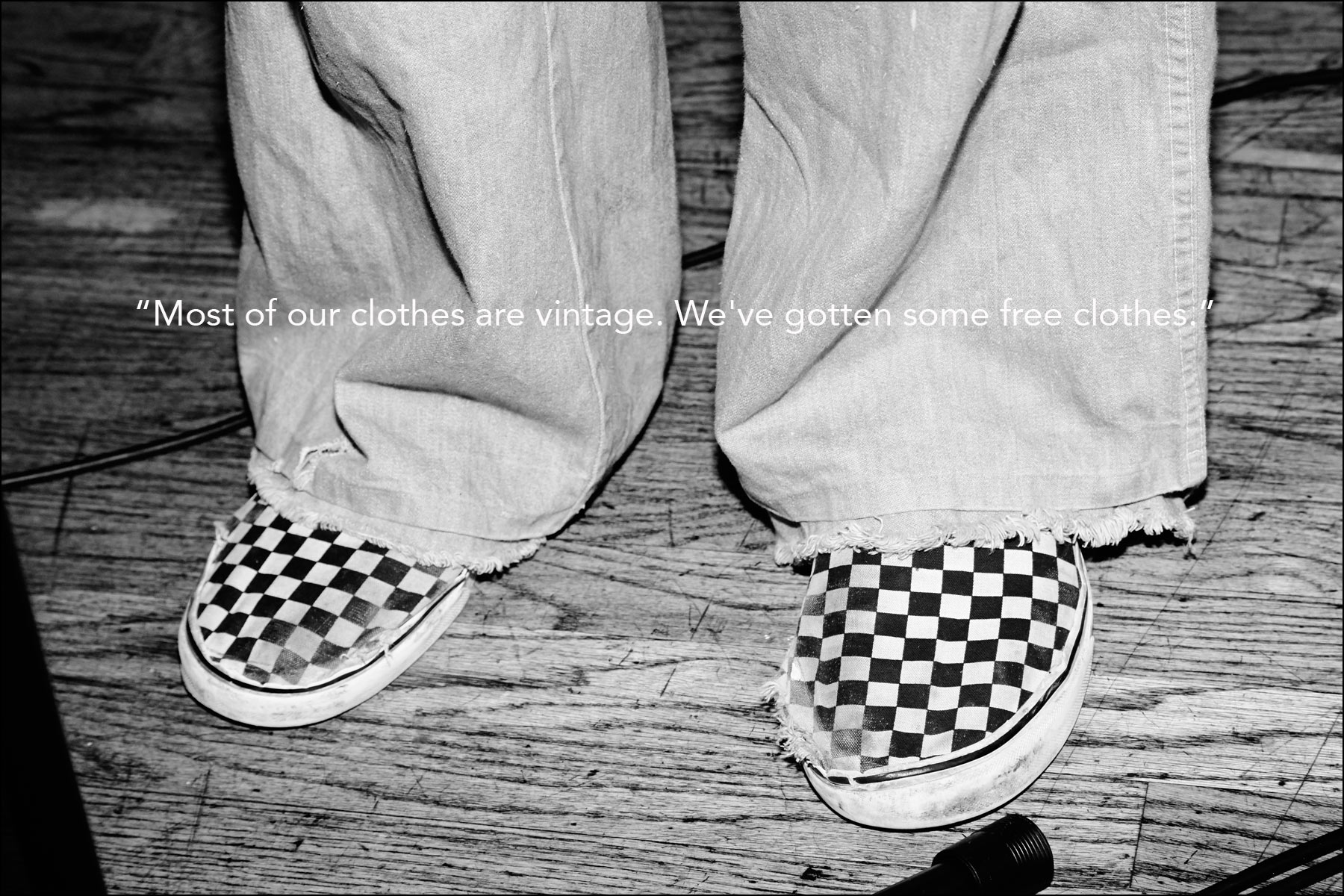 A detail shot of Lemon Twigs musician Brian D'Addario's checkerboard Van sneakers. Photographed by Alexander Thompson for Ponyboy magazine New York.