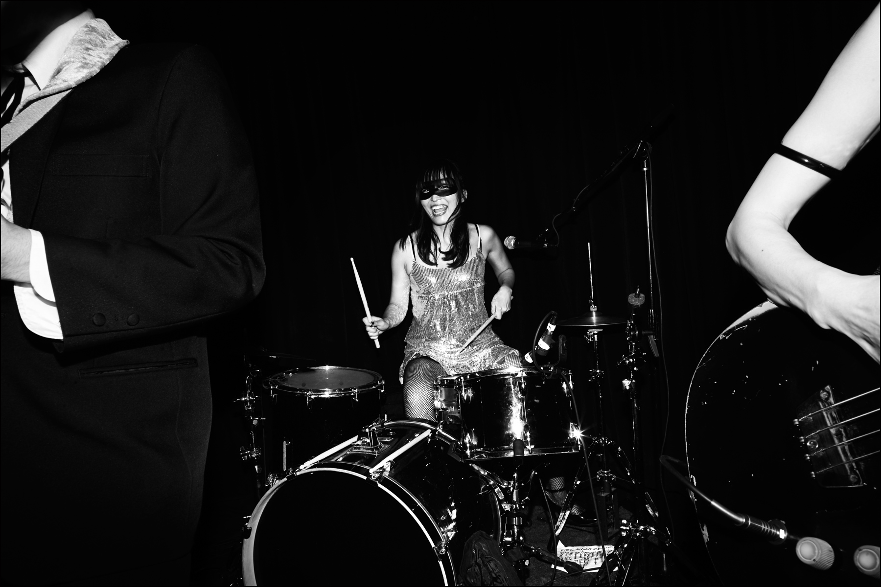 Drummer Saori, from The Stompin' Riffraffs. Photographed onstage at Berlin in New York City by Alexander Thompson for Ponyboy magazine NY.
