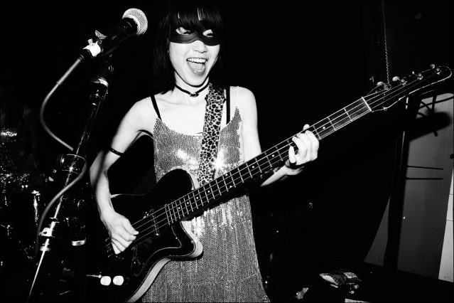 Rie, from Wild Records band The Stompin Riffraffs, photographed onstage at Berlin. Photography by Alexander Thompson for Ponyboy magazine.