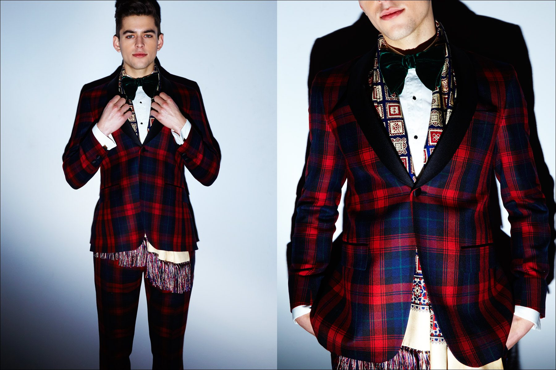 A red tartan tuxedo photographed backstage at David Hart F/W17 show. Photography by Alexander Thompson for Ponyboy magazine New York.