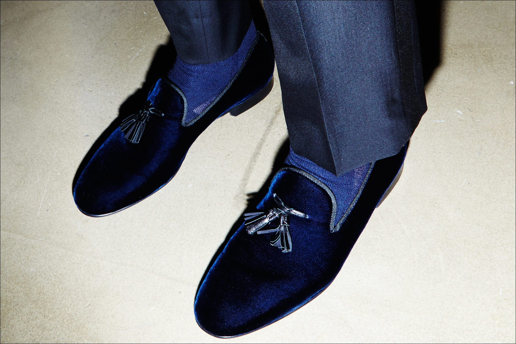 Blue tassel loafers from Johnson & Murphy, photographed backstage at the David Hart Fall/Winter 2017 menswear show. Photography by Alexander Thompson for Ponyboy magazine NY.