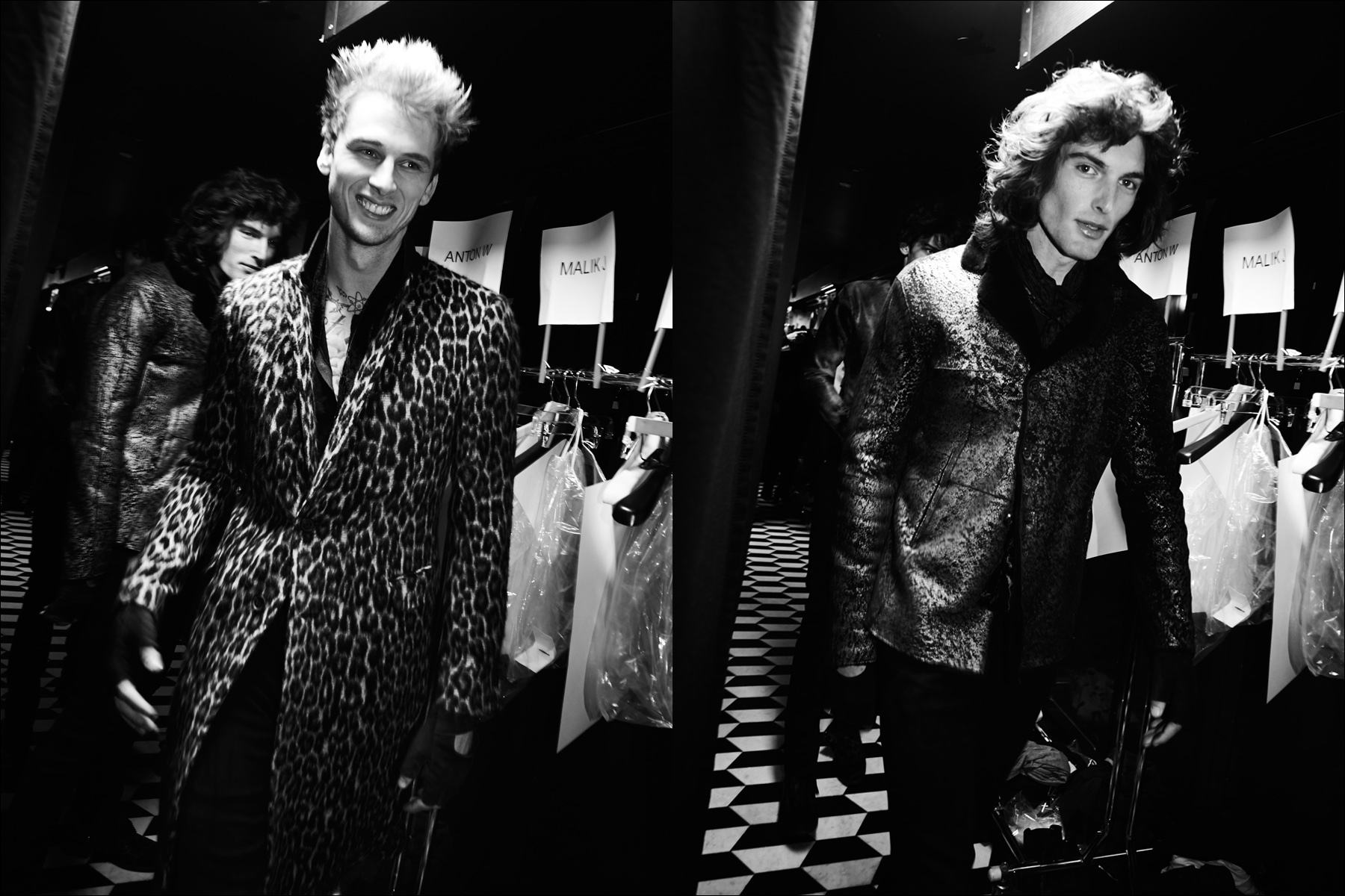 Musician Machine Gun Kelly snapped backtage in a leopard coat at John Varvatos F/W17 menswear show. Photography by Alexander Thompson for Ponyboy magazine New York.