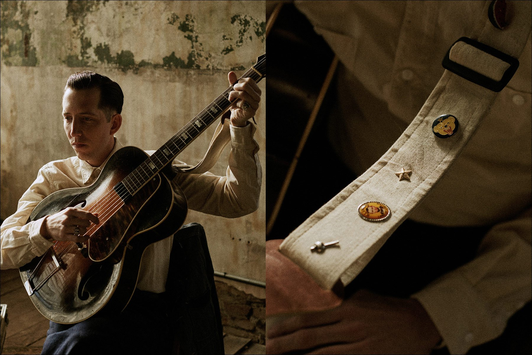 The great Pokey LaFarge photographed by Noah Sahady for his clothing collaboration with Knickerbocker Mfg. Co. Ponyboy magazine NY.