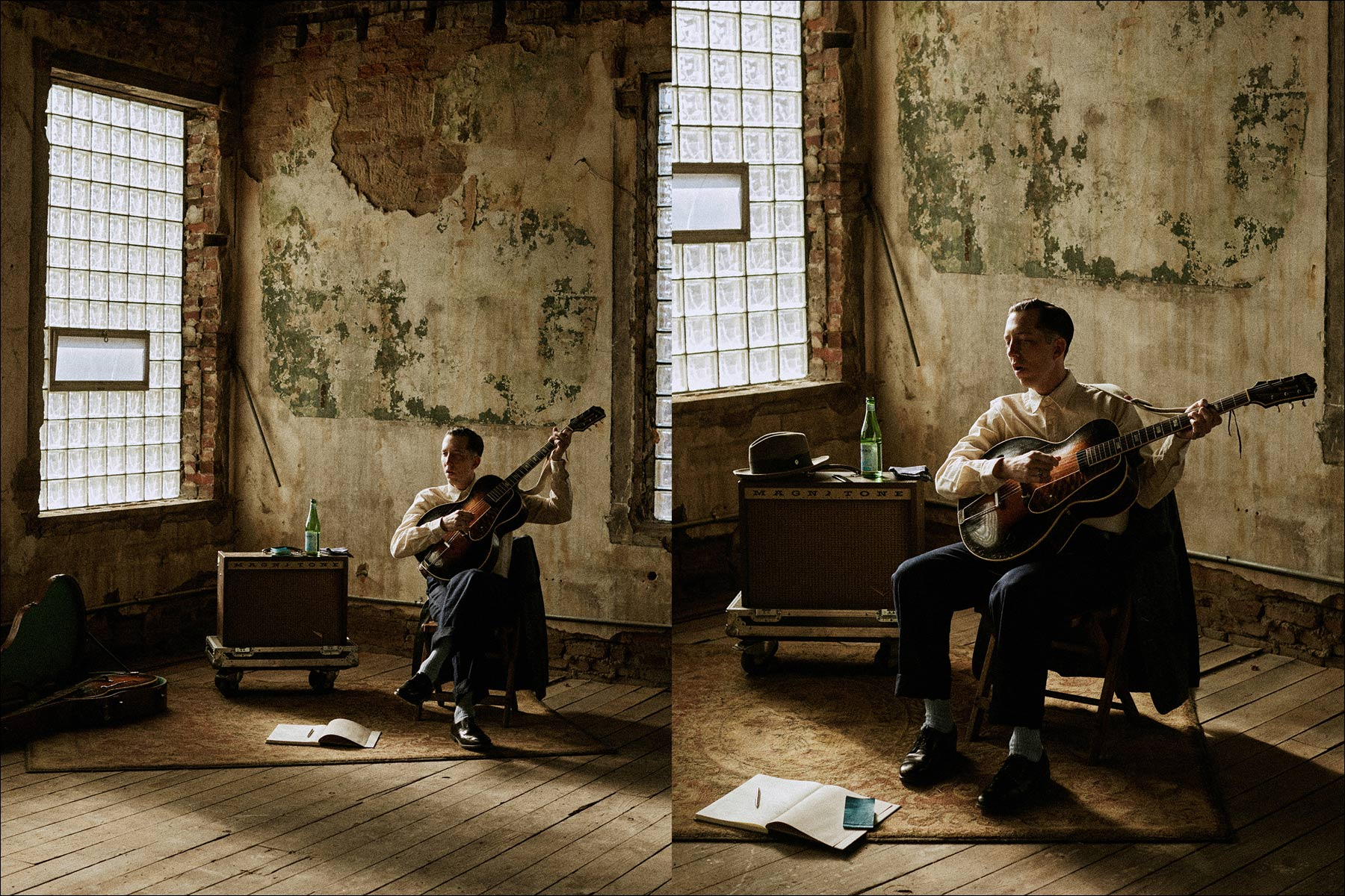 Photographs by Noah Sahady of musician Pokey LaFarge, for Knickerbocker Mfg. Co. Ponyboy magazine.