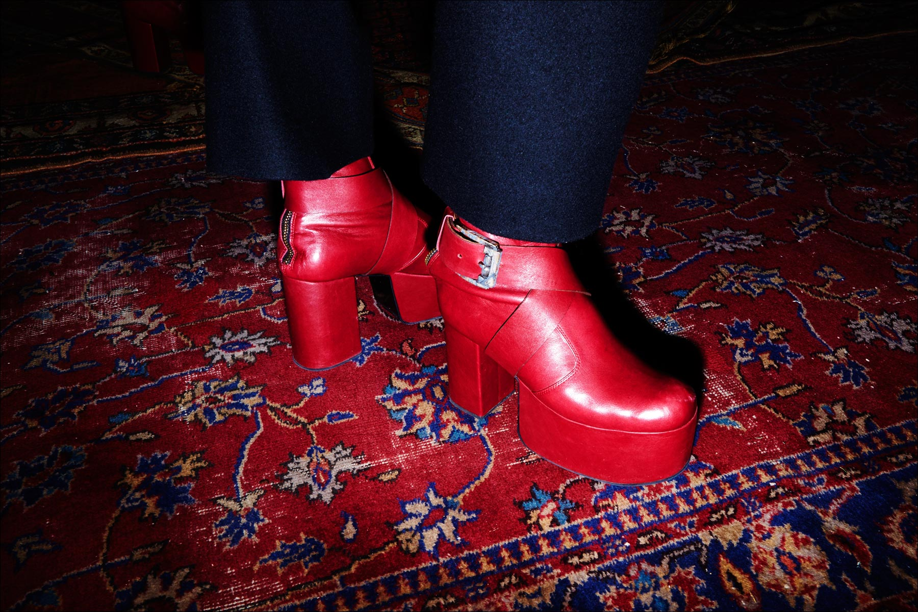 Red platforms shown during the Kozaburo Fall 2017 menswear presentation in New York. Photography by Alexander Thompson for Ponyboy magazine.