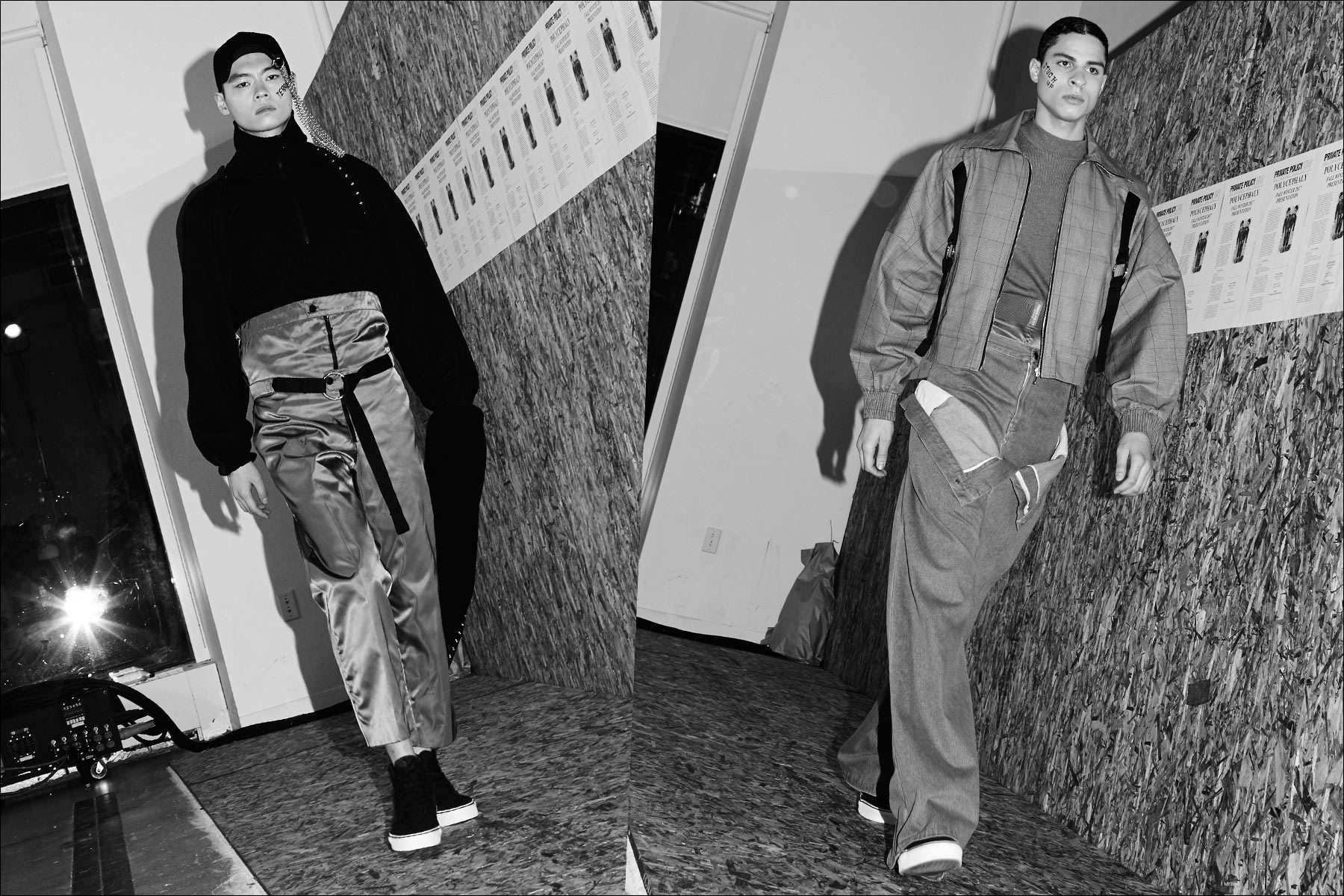 Male models walk the runway presentation for Private Policy F/W17 menswear show. Photography by Alexander Thompson for Ponyboy magazine NY.