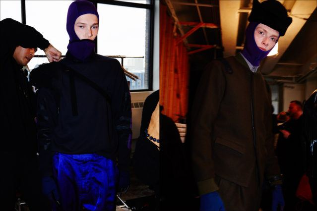 Models Oscar Scott & Linus Wordemann snapped backstage at the Robert Geller A/W17 menswear show. Photography by Alexander Thompson for Ponyboy magazine New York.