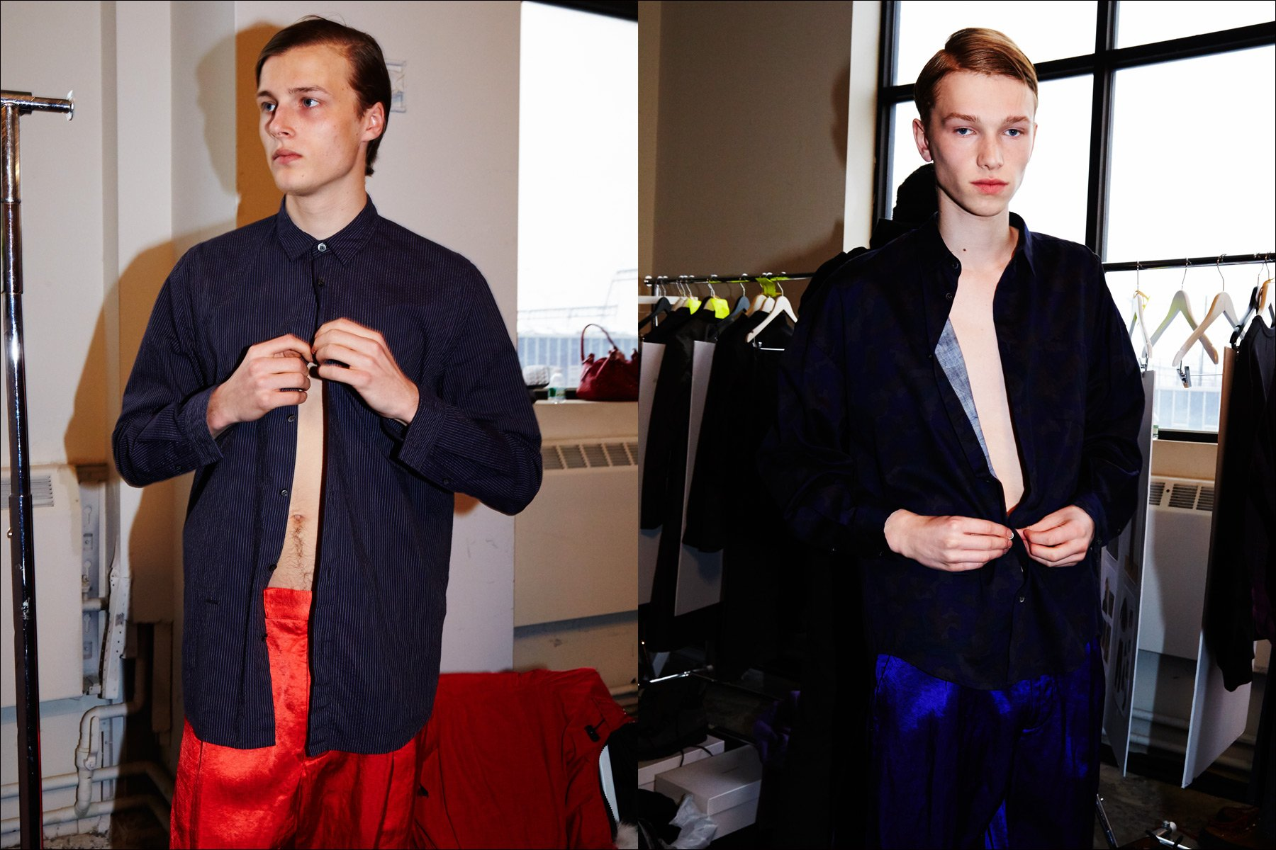 Models Hugh Laughton-Scott & Oscar Scott photographed dressing backstage at Robert Geller Autumn/Winter 2017 menswear collection. Photography by Alexander Thompson for Ponyboy magazine NY.