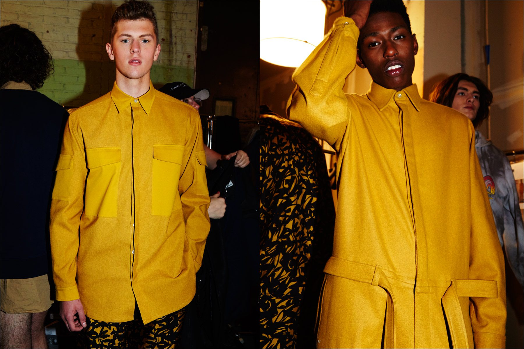 Model Brandon Pikulinski in a mustard look from menswear designer Carlos Campos F/W17. Photography by Alexander Thompson for Ponyboy magazine NY.