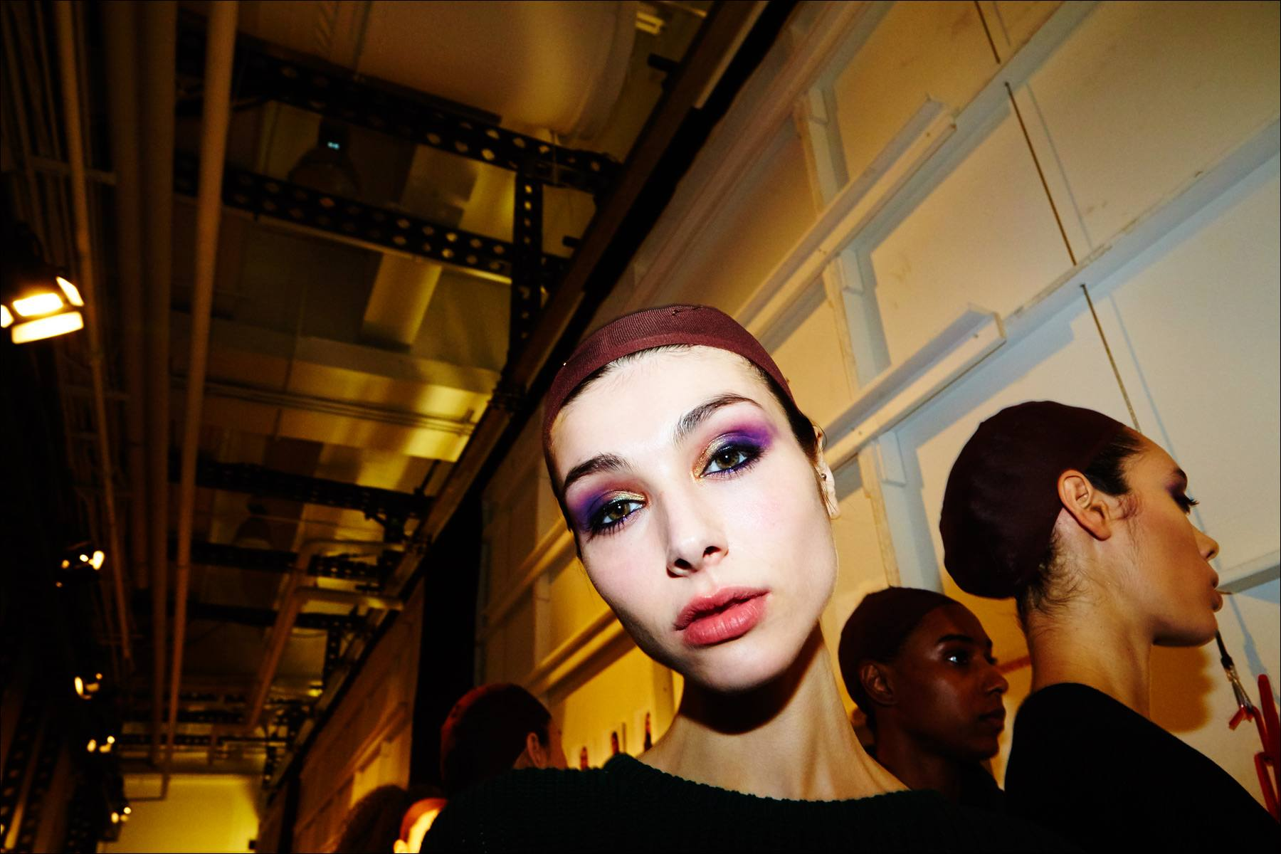 Model Alla Goncharova photographed before walking, backstage at the Georgine F/W17 womenswear show. Photography by Alexander Thompson for Ponyboy magazine NY.