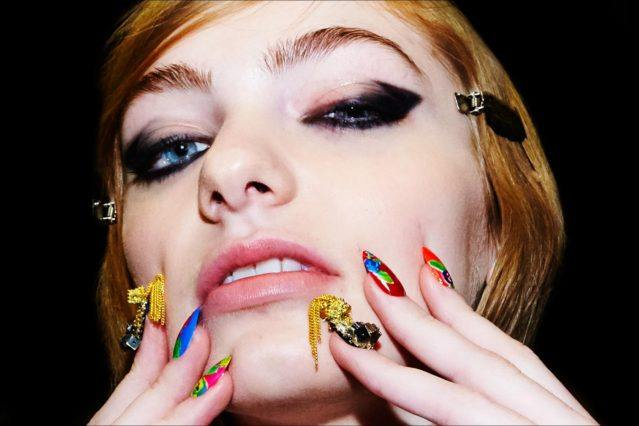 Eclectic nail art photographed backstage at Libertine Fall/Winter 2017 collection. Photography by Alexander Thompson for Ponyboy magazine.