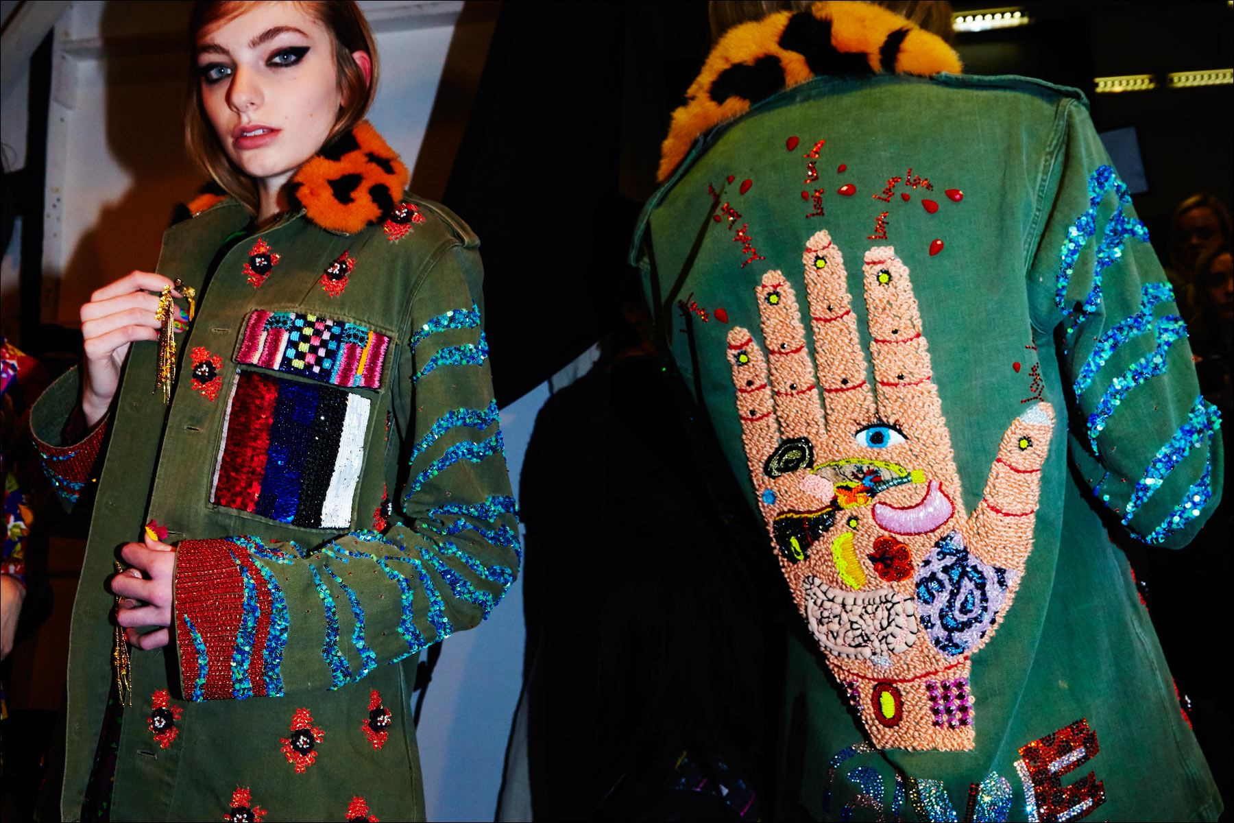 An elaborate jacket photographed on a model backstage at Libertine for Fall/Winter 2017. Photography by Alexander Thompson for Ponyboy magazine NY.