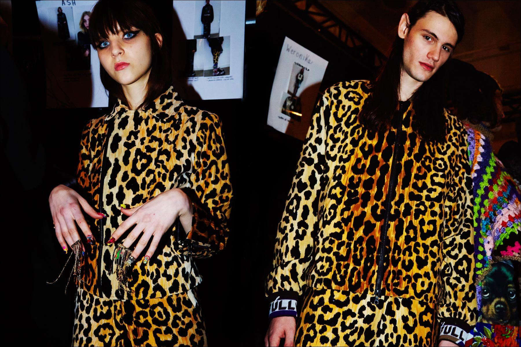 Models Masha Tsarykevich & Gustavo Sanches photographed in leopard looks from the Libertine Fall/Winter show. Photographed by Alexander Thompson for Ponyboy magazine NY.