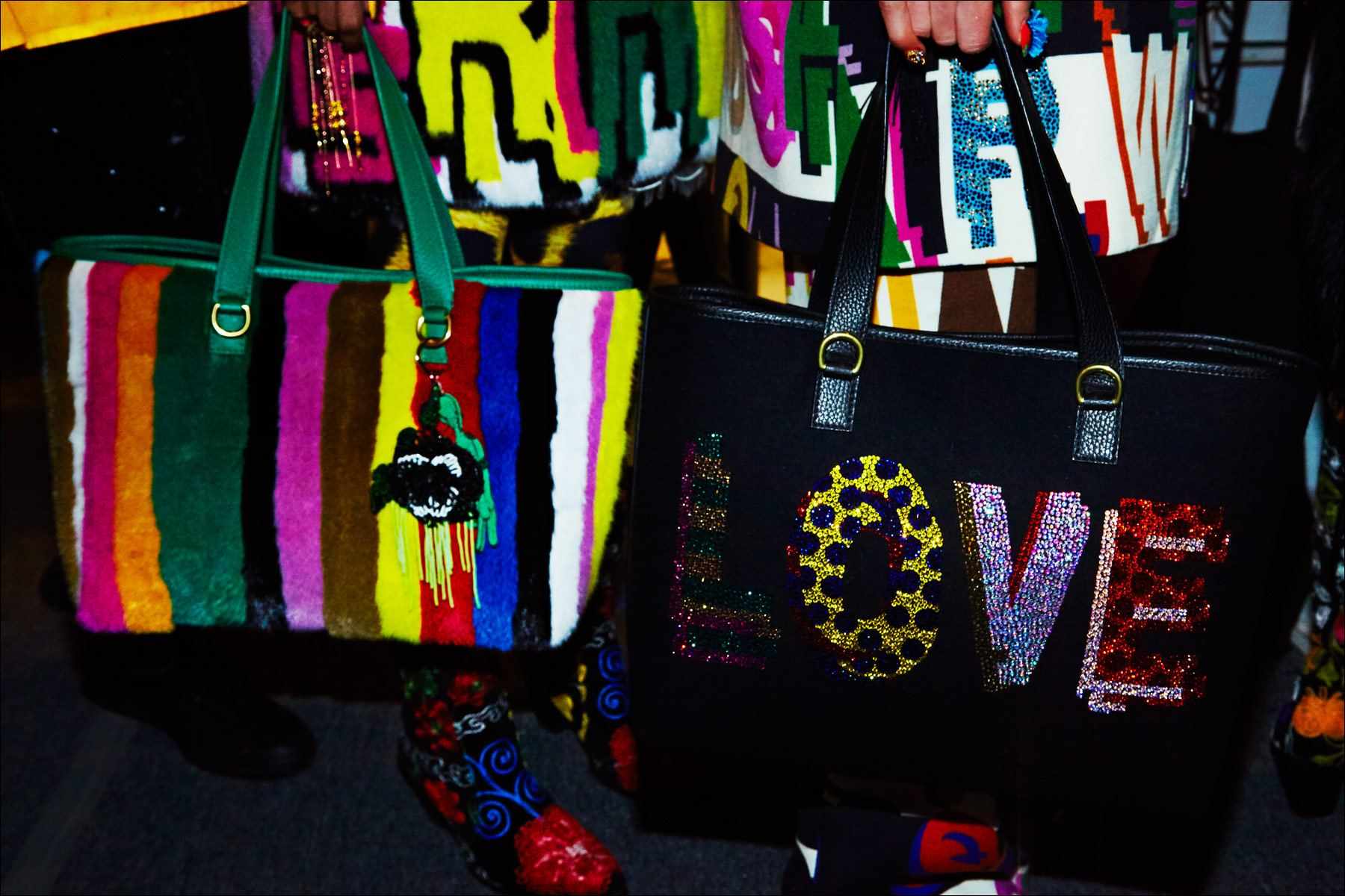 Libertine bags photographed backstage for Fall/Winter 2017. Photography by Alexander Thompson for Ponyboy magazine NY.