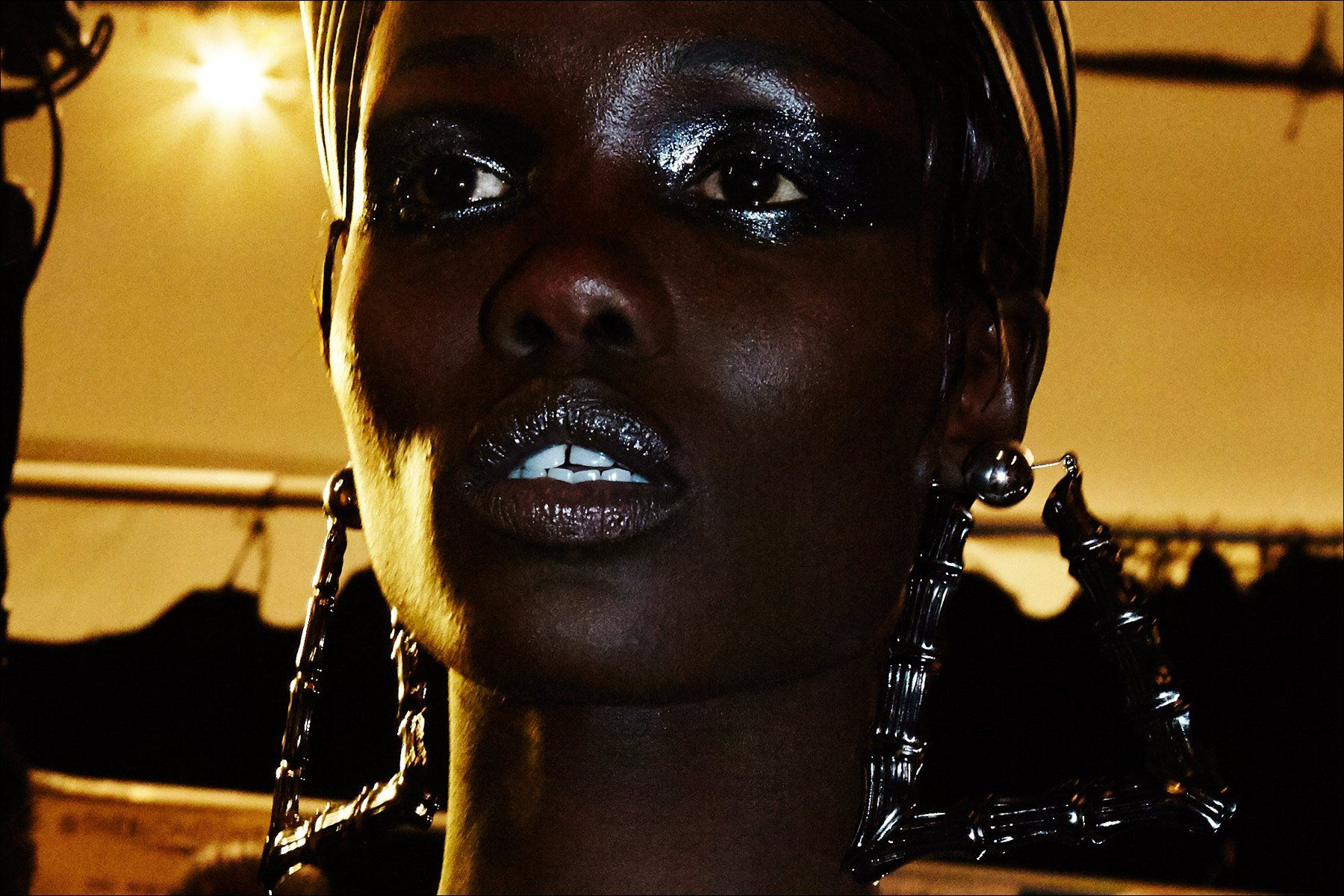 Model Tina J. photographed backstage at The Blonds Fall 2017 collection. Photography by Alexander Thompson for Ponyboy magazine New York.