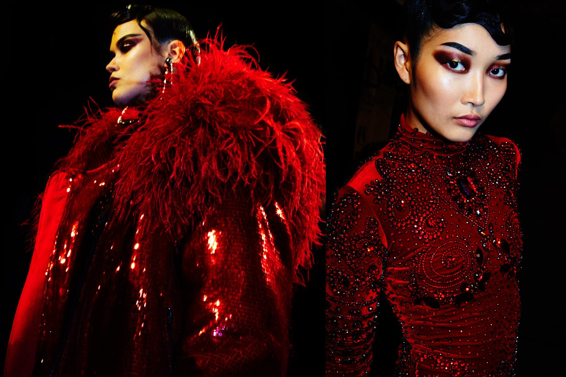 Models Marina Albino &Hong Jisu wear red backstage at The Blonds Fall 2017 collection. Photography by Alexander Thompson for Ponyboy magazine New York.