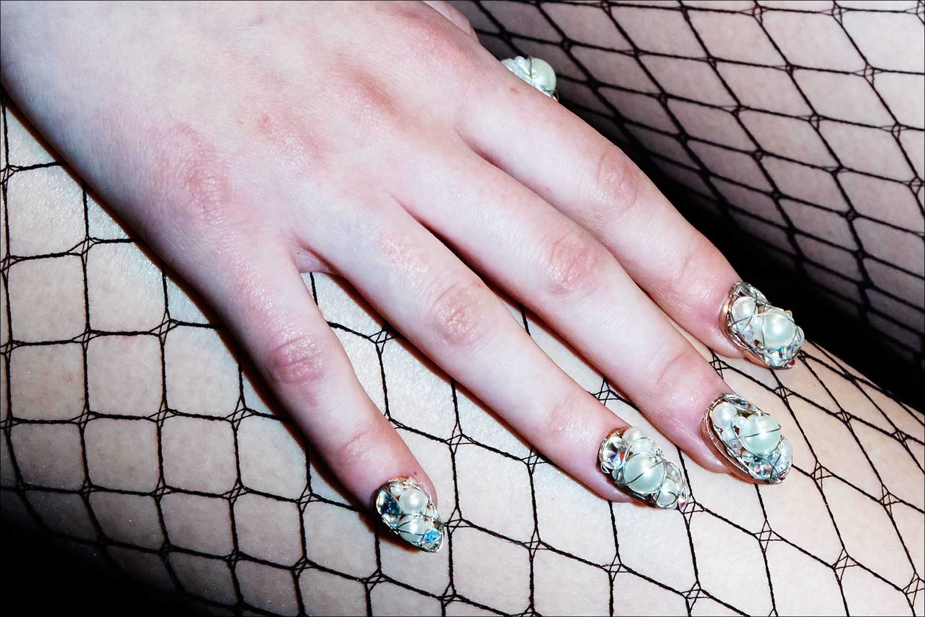 Elaborate nail art snapped backstage at The Blonds Fall 2017 womenswear show. Photography by Alexander Thompson for Ponyboy magazine New York.
