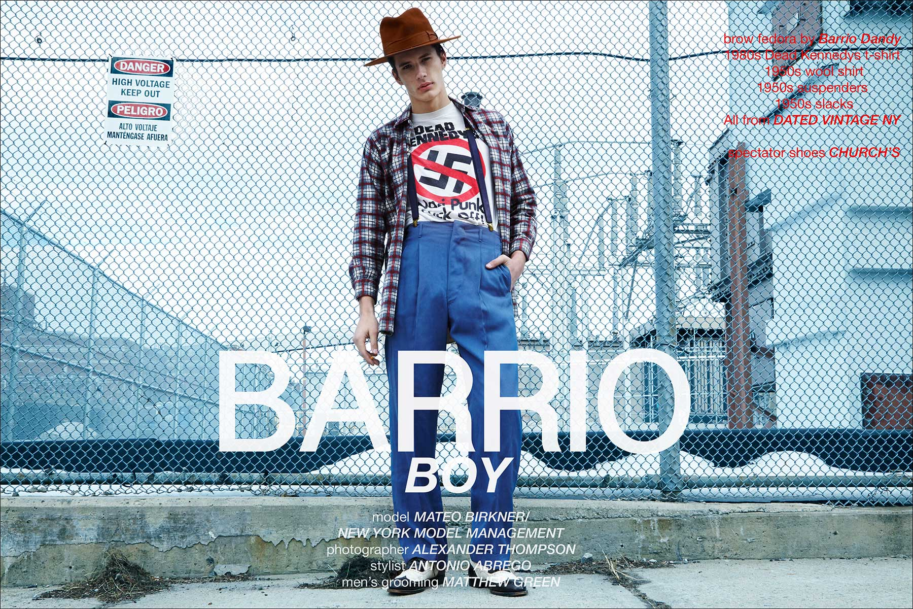 Barrio Boy, starring model Mateo Birkner from New York Model Management. Photographed by Alexander Thompson, with menswear styling by Antonio Abrego. Ponyboy magazine New York.