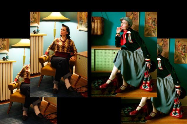 Moria Roe photographed sitting in her vintage decorated home. Ponyboy magazine.
