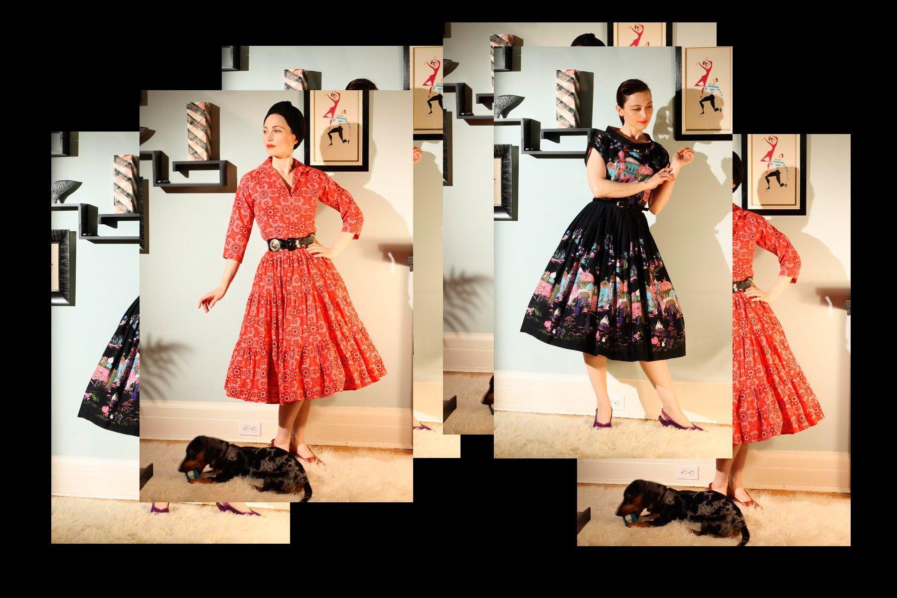 Moira Roe wears vintage dresses in her home. Ponyboy magazine New York.