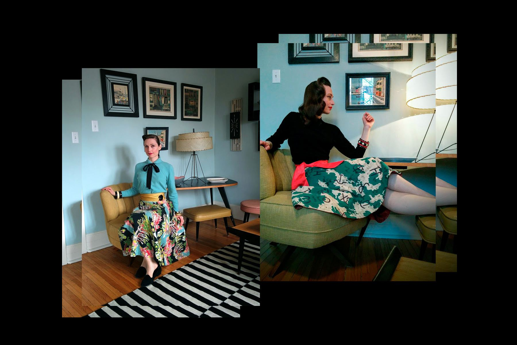 Ms. Moria Roe wears collectable vintage printed 40s skirts. Ponyboy magazine New York.