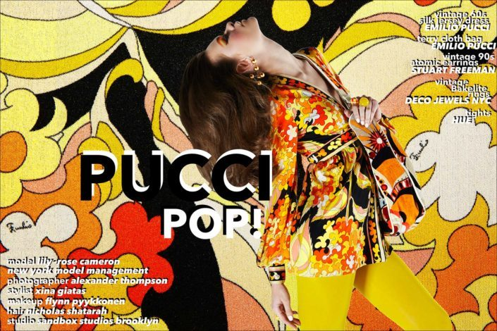 Pucci Pop! Vintage Emilio Pucci editorial starring model Lily-Rose Cameron from New York Model Management. Styling by Xina Giatas, photographed by Alexander Thompson for Ponyboy magazine.