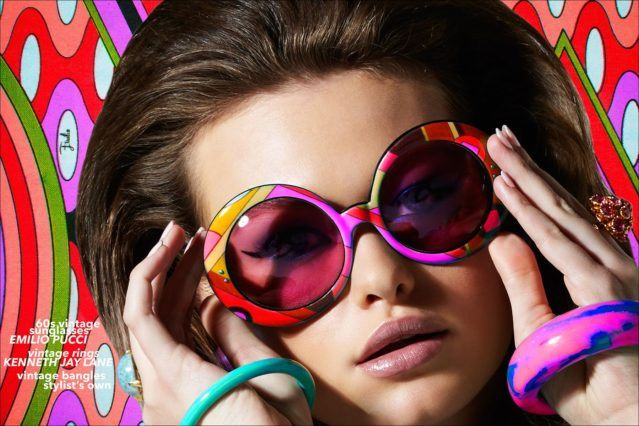 Model Lily-Rose Cameron photographed wearing psychedilc Emilio Pucci sunglasses from the 1960s. Photographed by Alexander Thompson, with styling by Xina Giatas. Ponyboy magazine.