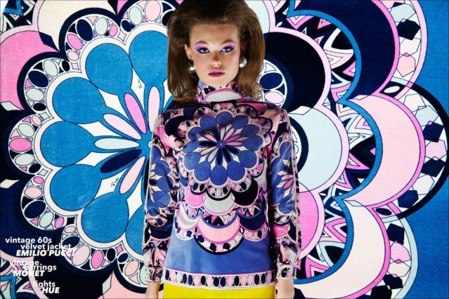 Lily-Rose Cameron photographed in a vintage 1960s Emilio Pucci jacket for Ponyboy magazine. Photography by Alexander Thomspon, styling by Xina Giatas.