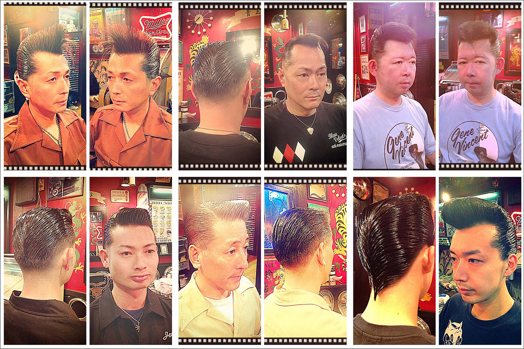 Portraits of Japanese patrons in 50s style pompadours from Blue Velvet's barber shop. Ponyboy magazine New York.