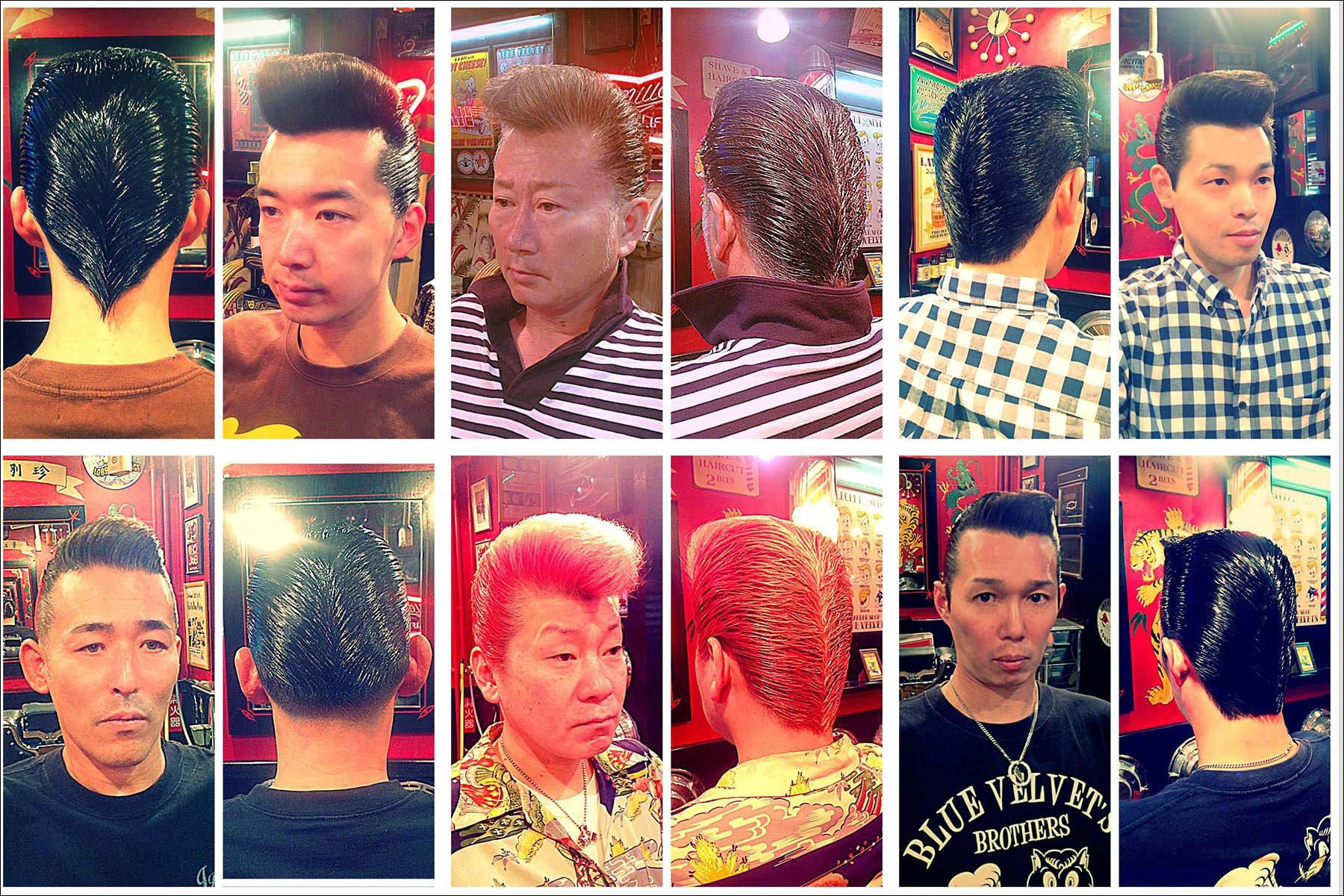 Portraits of Japanese customers in 1950s style pompadours from Blue Velvet's barber shop. Ponyboy magazine NY.