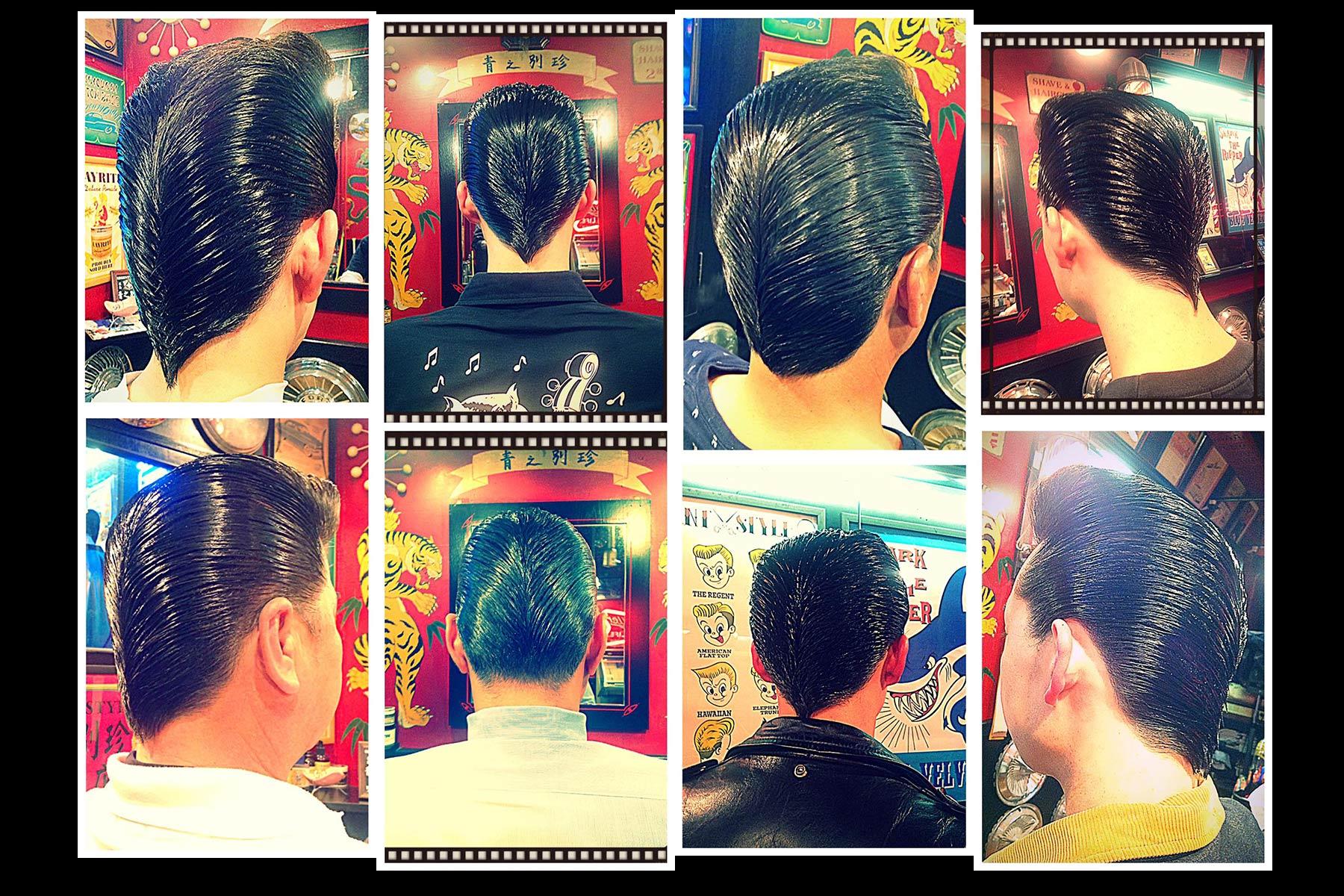 1950s ducktails from Blue Velvet's barber shop in Japan. Ponyboy magazine New York.