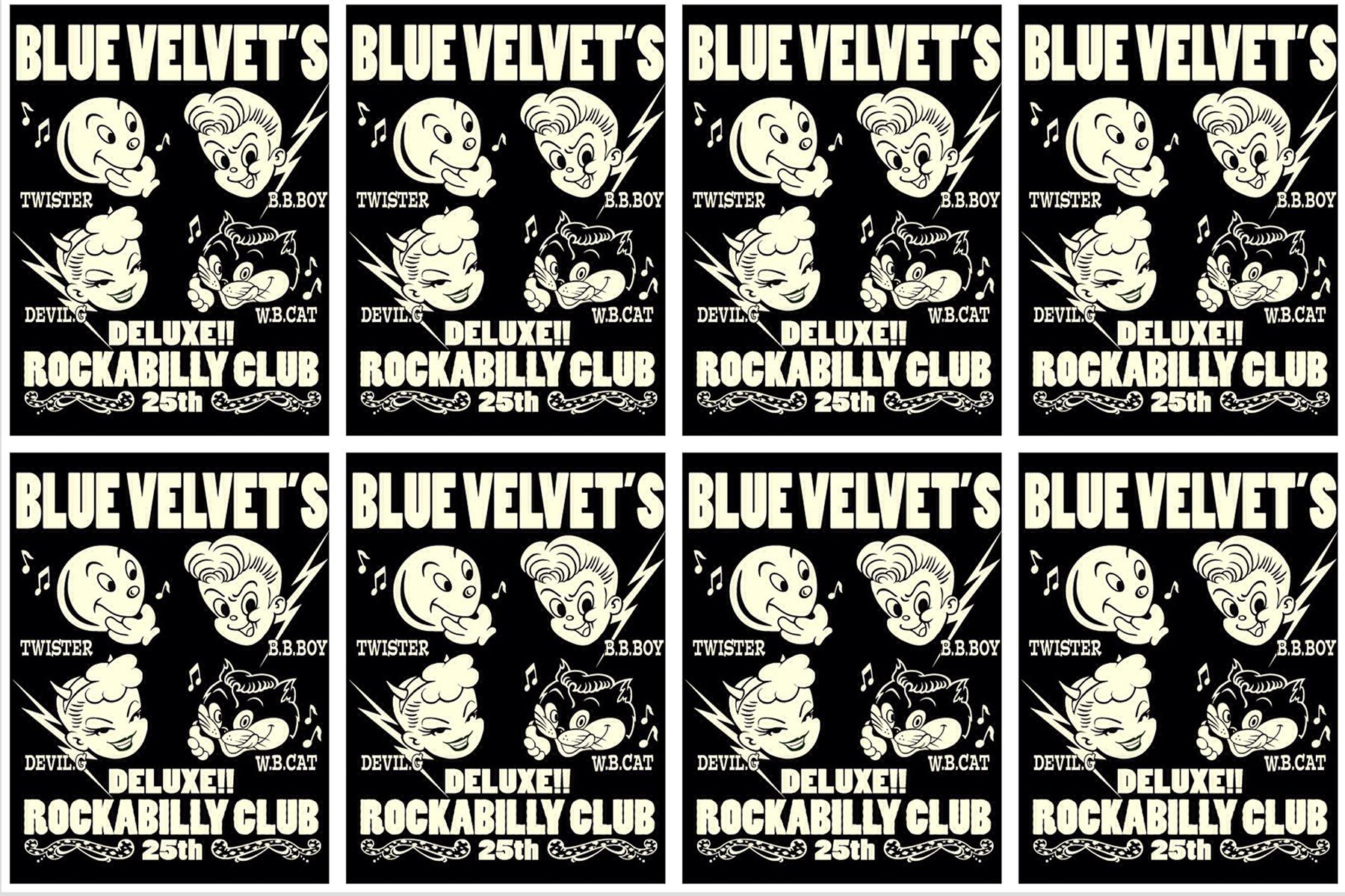 Drawings for Blue Velvet's 1950s rockabilly club Japan. Ponyboy magazine New York.