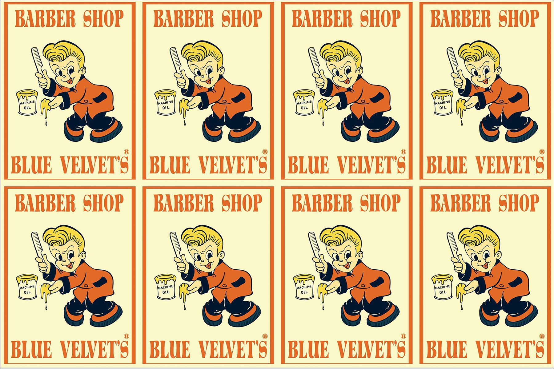 Blue Velvet's 1950s style barber shop visuals. Ponyboy magazine New York.