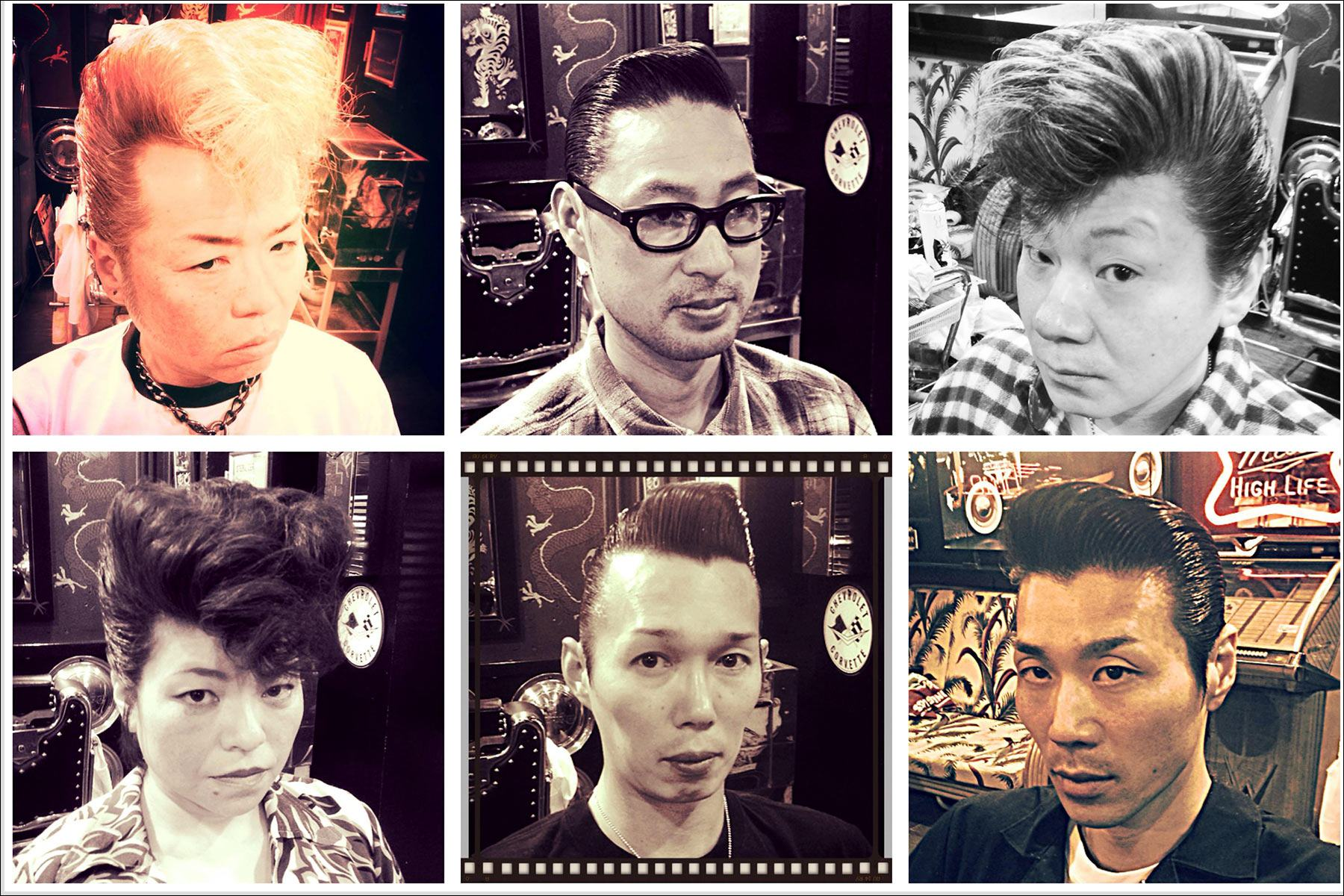 Portraits of customers in pompadours from Blue Velvet's barber shop. Ponyboy magazine NY.
