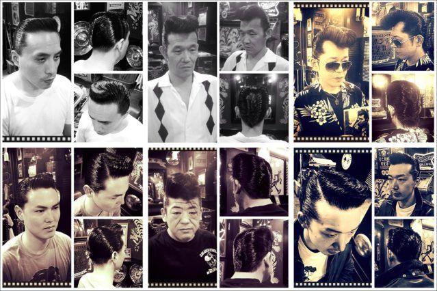 B&W portraits of Japanese rockabilly men in greasy 1950s pompadours from Blue Velvet's barber shop. Ponyboy magazine.