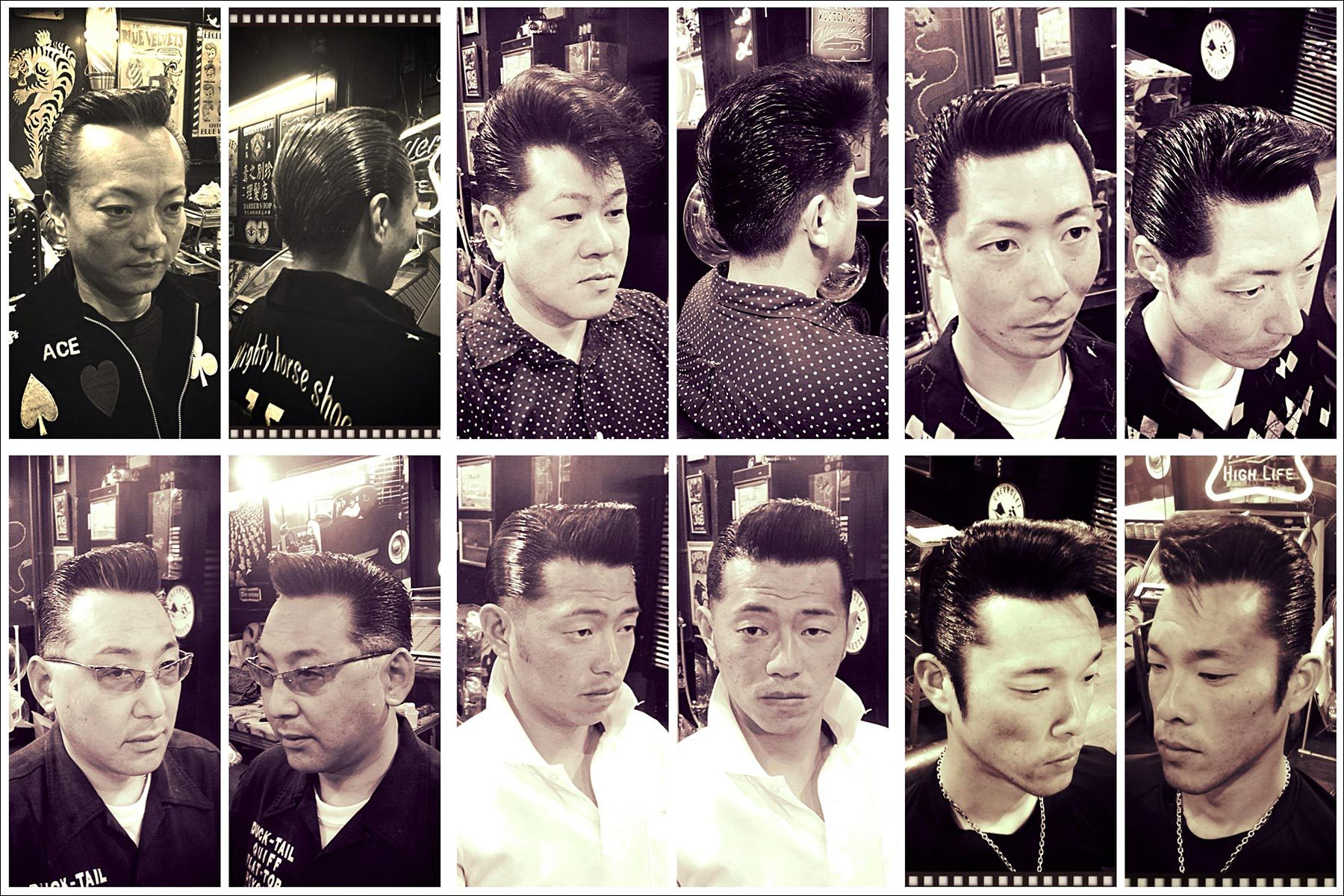 B&W portraits of Japanese rockabillies in perfectly groomed 1950s pompadours from Blue Velvet's barber shop. Ponyboy magazine New York.