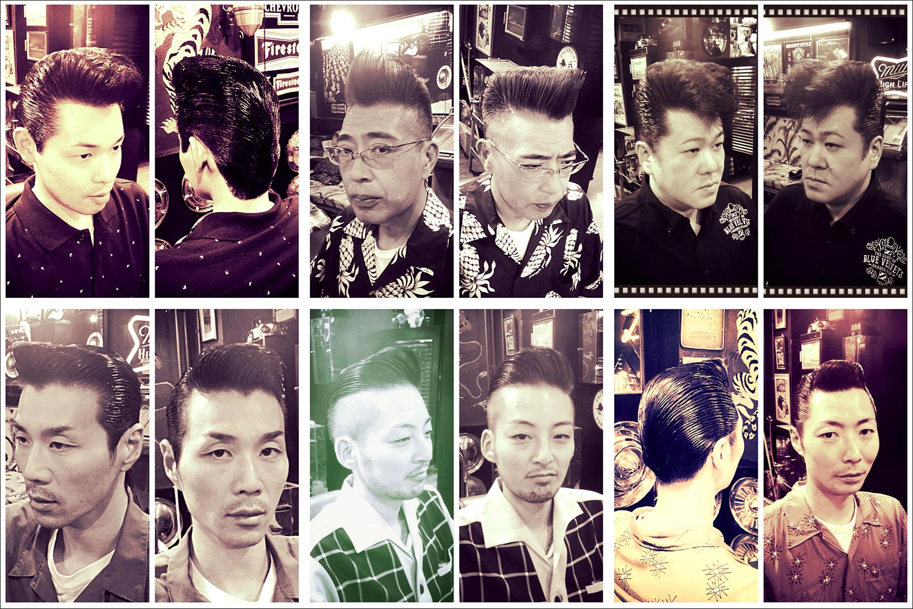 B&W portraits of Japanese patrons in perfectly groomed 1950s rockabilly pompadours from Blue Velvet's barber shop. Ponyboy magazine New York.